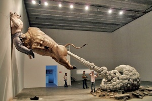 In this photo taken Sunday, Sept. 27, 2009, a sculpture by Chinese artist Chen Wenling entitled